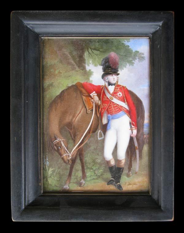 Nicolas Jacques, portrait en miniature du Prince de Galles, futur George IV, aquarelle et gouache sur feuille d'ivoire, 13,3 x 9,3 cm, sbd, ca 1800. Collection privée.