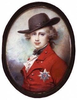 Richard Cosway, Le Prince de Galles, futur George IV, aquarelle sur ivoire, 98 x 73 mm, ca 1780-1782.