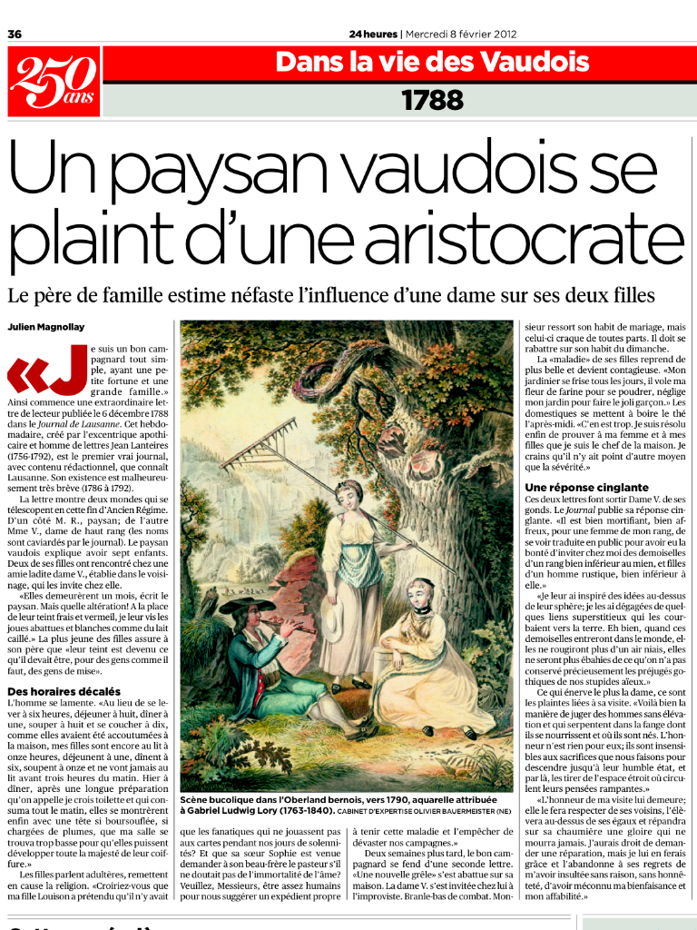 L'édition suisse de 24 Heures du 8 février 2012 illustre une de nos aquarelles.