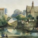 Ecole française, paysage romantique, aquarelle sur papier, 26 cm x 38 cm (vue), ca 1830.