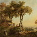Arsène PÉLÉGRY (L'Isle d'Alby, 1813 - Toulouse, 1881), paire de paysages en pendants, animés de personnages sur le thème « gens des villes – gens des campagnes », huile sur toile, 61 x 81 cm (châssis), 1859 (sdbd).