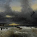 Camille ROQUEPLAN (1802-1855) sdbd, Vue des Côtes normandes, huile sur toile, 46 x 55 cm (châssis), 1839.