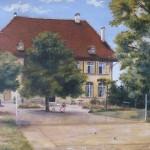 John E. CLAYTON (1842 – Tours, 1927), Vue d'une maison de campagne, huile sur carton, 30 x 40 cm (carton), ca 1900.