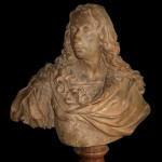 Antoine COYSEVOX (1640-1720, d'après), portrait en buste de Louis II de Bourbon, prince de Condé (1621-1686), dit le Grand Condé, terre cuite sur piédouche en marbre rouge, 67 (hauteur) x 64 cm (largeur), première moitié du XIXe siècle.