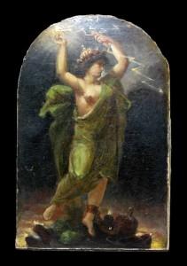 Narcisse DIAZ DE LA PENA (1807-1876) sdbd, figure allégorique, huile sur carton, 24cm x 16 cm, seconde moitié du XIXe siècle.