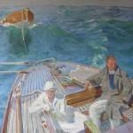 Raoul du GARDIER (1871-1952), Couple sur un voilier, huile sur toile, 81 x 115 cm (châssis), tout début du XXe siècle, vers 1930.