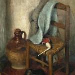 Marcel DREYFUSS dit «Marcel Dyf» (1899-1985), sbd en noir, nature morte à la chaise et à la pipe, huile sur toile, 55 x 46 cm (châssis), XXe siècle.