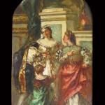Eugène LAMI (1800-1890) non signé, Conversation dans un parc, huile sur papier marouflé sur carton, 26x 15,5 cm, ca 1860.