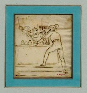 Alexandre-Evariste FRAGONARD (1780-1850), deux croquis en pendants, encre brune et lavis sur tracé sous-jacent à la mine de plomb sur papier, 110 x 100 mm et 135 x 110 mm, ca 1830.