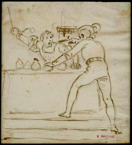 Alexandre-Evariste FRAGONARD (1780-1850), deux croquis en pendants, encre brune et lavis sur tracé sous-jacent à la mine de plomb sur papier,10 x 100 mm et 135 x 110 mm, ca 1830.