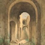 Ecole française (P. FLAMENT), paire de vues de ruines, aquarelle sur papier, 200 x 143 mm (vue), 1841 (sdbd).