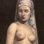 Henri REGNAULT (1843-1871), Jeune femme orientale à Tanger, huile sur toile marouflée sur carton, 28 x 22 cm, ca 1870.