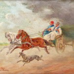 Imre PERLMUTTER (1892-1935), Le retour avant l'orage, huile sur panneau de bois, 13,5 x 21 cm (panneau), ca 1930.
