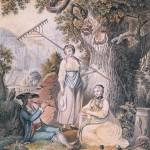 Gabriel Ludwig LORY (1763-1840, attribué à), « Costumes Pittoresque [sic] / Des villages de la Vallée d'Oberhasli / Canton de Berne », aquarelle et rehauts de gouache sur papier vergé, 24 cm x 19 cm, fin du XVIIIe siècle, ca 1790.