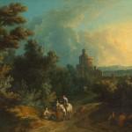 Ecole italienne, paysage animé de personnages, huile sur toile, 44 x 60 cm, pemière moitié du XVIIIe siècle.