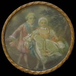 D'après François-Hubert DROUAIS (Paris, 1727 - id., 1775), portrait en miniature, dans sa boîte, de Charles-Philippe de France, comte d'Artois (1757-1836) et de sa soeur Marie-Adélaïde-Clothilde-Xavière de France, surnommée Madame Clotilde (1759-1802), gouache sur feuille d'ivoire, 2, 5 x 13 cm (boîte) ; 9 cm (diamètre de la vue), dernier tiers du XVIIIe siècle, ca 1770-1775.