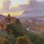 Edouard de POURTALÈS-PURY (1802-1885), vue d'Italie, huile sur toile marouflée sur panneau d'acajou, 39,5 x 23 cm, ca 1830.