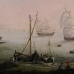 Herman SAFTLEVEN (1609- 1685, école de), paysage maritime avec bateaux et pêcheurs, huile sur toile, 41 x 60 cm (châssis), fin du XVIIe siècle.