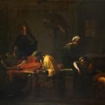 Ecole française néoclassique, Le Testament d'Eudamidas, huile sur toile, 108,5 x 138,5 cm (châssis), Ca 1800.