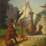 Vincent de VOS (1829-1875) : le Renard et la Cigogne