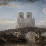 Ecole française 1800-1830, vue du chevet de Notre-Dame de Paris et du Pont de la Tournelle, huile sur panneau de chêne, 13,5 x 21 cm, premier tiers du XIXe siècle.