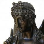 """Pendule Empire, dite à """"L'Amour en silence"""", """"Bléd à Paris"""" (signature de l'horloger), bronze ciselé doré, bronze ciselé et patiné, marbre vert antique, 48 (hauteur) x 28,5 (largeur) x 12,5 cm (profondeur), Paris, ca 1810."""