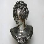 James PRADIER (1790-1852), Buste de Diane de Poitiers en Diane chasseresse, régule argenté, 30 (hauteur) x 14,5 cm (largeur), seconde moitié du XIXe siècle.