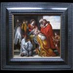 Ecole espagnole ou flamande, L'Adoration des Rois Mages, huile sur toile, 40,5 x 43,5 cm, 1708 (daté en bas à gauche).Ecole espagnole ou flamande, L'Adoration des Rois Mages, huile sur toile, 40,5 x 43,5 cm, 1708 (daté en bas à gauche).