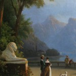 Ecole française, Vue sur le Lac de Côme depuis la terrasse de la Villa Melzi (Bellagio), huile sur toile, 76,5 x 102 cm (châssis), ca 1830.