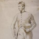 Ary SCHEFFER (1795-1859), Costume d'élève d'une école militaire, mine de plomb et lavis de sépia sur papier, 292 x 161 mm, sbg et shg, ca 1830-1840.