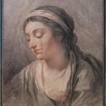 Jérémie ARLAUD (1758-1827), Figure féminine, gravure en manière de crayon sur papier chamois, 51 x 37 cm (vue), 62 x 78 cm (cadre compris), fin du XVIIIe siècle, ca 1800.