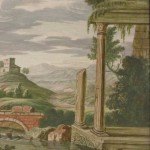 Ecole allemande, paire de paysages animés de personnages, gouache sur vélin marouflé sur carton, 31,7 x 21,8 cm, fin du XVIIe siècle
