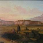 Ecole napolitaine, vue de Paestum, huile sur carton, 19,5 x 24,5 cm, Deuxième tiers du XIXe siècle, ca 1840.