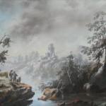 Johann Baptist STUNTZ (1753-1836), paire de paysages animés de personnages, en pendants, pastel sur toile préparée et tendue sur châssis de bois, 29,5 x 39 cm, fin du XVIIIe siècle (1782 et 1783).