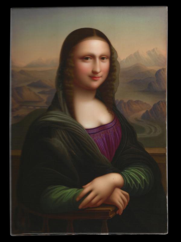 C. Lehmann, portrait de Mona Lisa d'après Léonard de Vinci, sur plaque de porcelaine, 14 x 20,5 cm, seconde moitié du XIXe siècle.
